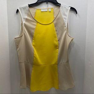 New York & Company Sleeveless Blouse Yellow Tan
